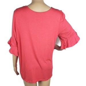 Anthropologie Tops - Anthropologie Pleione Sz M Pink Top Ruffle Sleeve